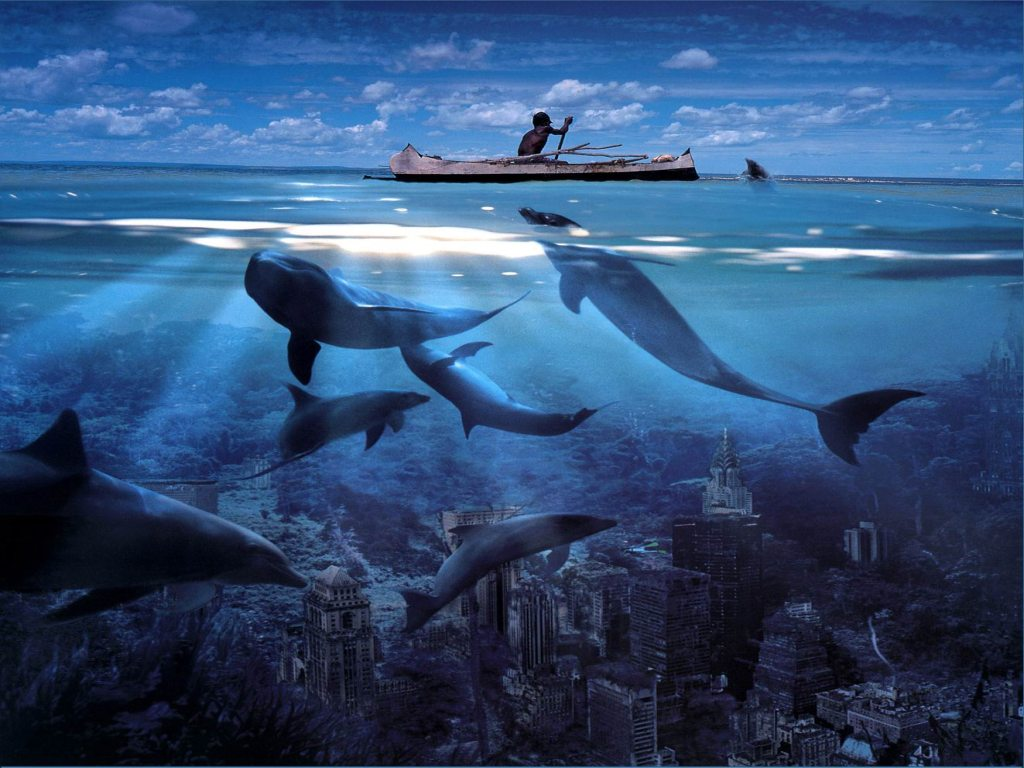 apocalisse mare oceano blu canoa delfini rovine sommersa sommerso ...