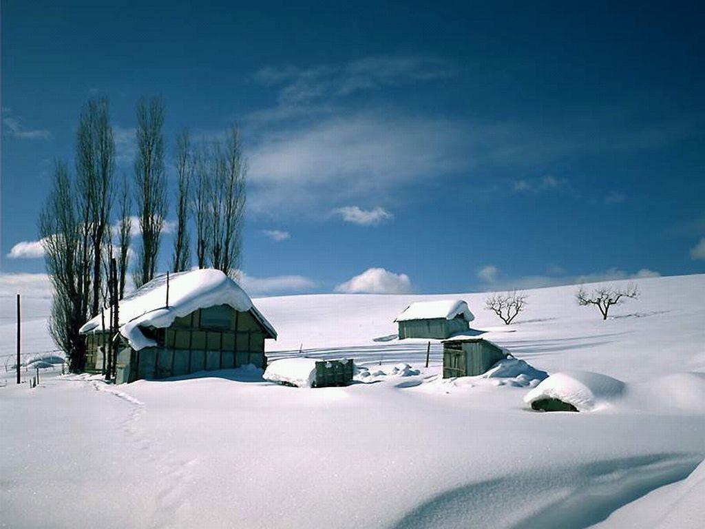 Casa Montagna Neve Casetta Innevata Neve Montagna